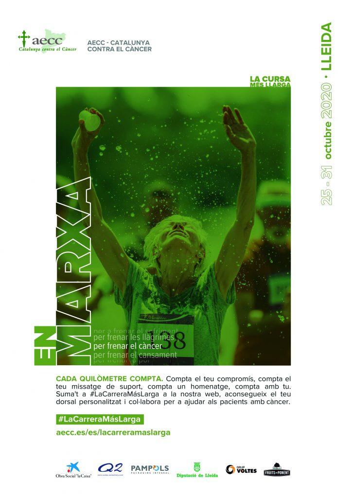 Cartel de #LaCarreraMásLarga de la AECC Lleida.